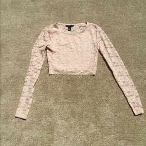 Forever 21 Pink Lace Long sleeve Crop Top